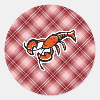 Langosta roja de la tela escocesa pegatina redonda