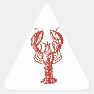Langosta roja estilizada pegatina triangular
