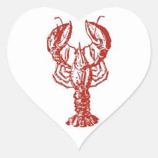 Langosta roja estilizada pegatina en forma de corazón
