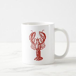 Langosta roja estilizada taza básica blanca