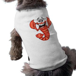 Langosta sonriente divertida playera sin mangas para perro