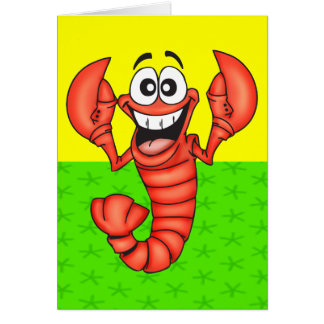 Langosta sonriente divertida tarjeta pequeña