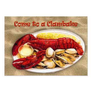 """Langosta y almejas Clambake Invitación 5"""" X 7"""""""