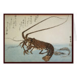 Langosta y camarones de la hoja de Ando Hiroshige Felicitaciones