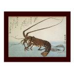 Langosta y camarones de la hoja de Ando Hiroshige Postal