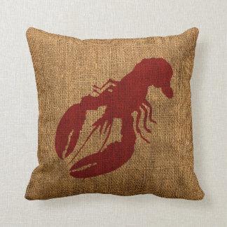 Langosta y cangrejo en rojo rústico náutico cojín
