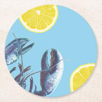 Langosta y limón azules de la ebullición de los posavasos desechable redondo