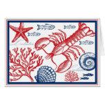 Langosta y tarjeta de la vida marina