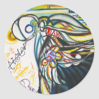 language angel creature wings classic round sticker