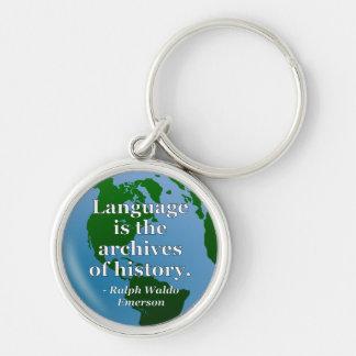 Language archives history Quote. Globe Keychain