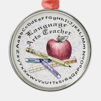 Language Arts Teacher Round Metal Christmas Ornament
