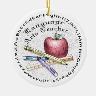 Language Arts Teacher Double-Sided Ceramic Round Christmas Ornament