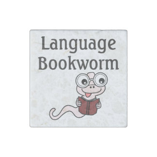 Language Bookworm Stone Magnet