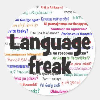 Language freak and background black classic round sticker