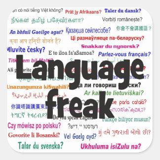 Language freak and background black square sticker