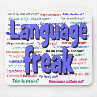 Language freak and background blue mouse pad
