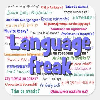 Language freak and background blue square sticker