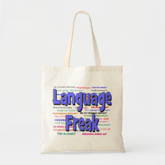 Language freak and background blue tote bag