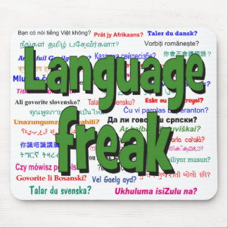 Language freak and background green mouse pad