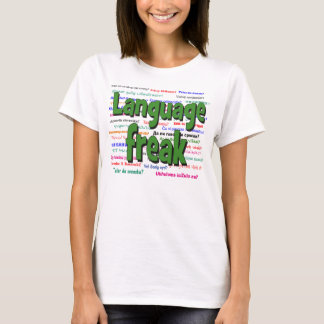 Language freak and background green T-Shirt