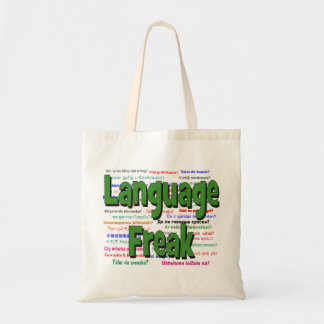 Language freak and background green tote bag