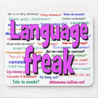 Language freak and background purple mouse pad