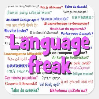 Language freak and background purple square sticker
