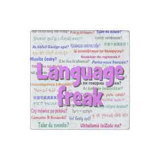 Language freak and background purple stone magnet