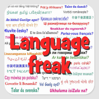 Language freak and background red square sticker