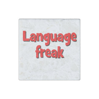 Language freak Basic red Stone Magnet