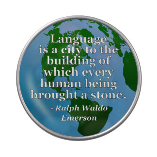 Language is a city Quote. Globe Candy Tins