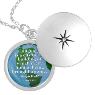 Language is a city Quote. Globe Locket Necklace