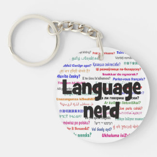 Language nerd and background black keychain