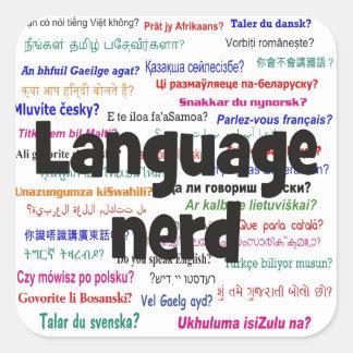 Language nerd and background black square sticker