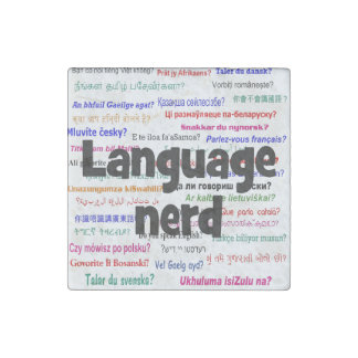 Language nerd and background black stone magnet