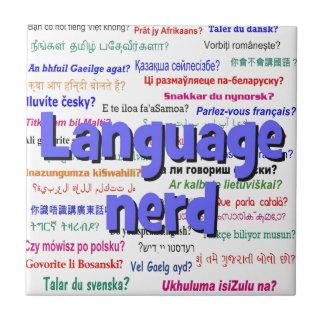 Language nerd and background blue ceramic tile