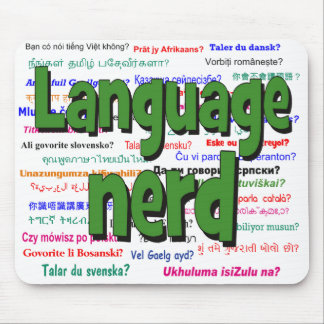 Language nerd and background green mouse pad