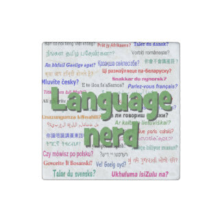 Language nerd and background green stone magnet