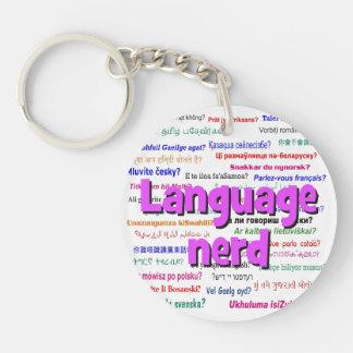 Language nerd and background purple keychain
