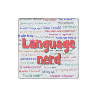 Language nerd and background red stone magnet