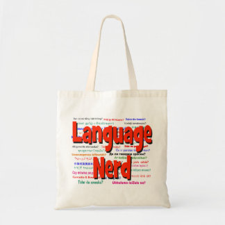 Language nerd and background red tote bag