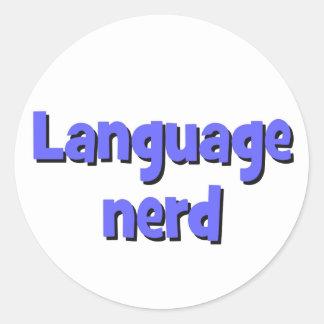 Language nerd Basic blue Classic Round Sticker