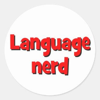 Language nerd Basic red Classic Round Sticker