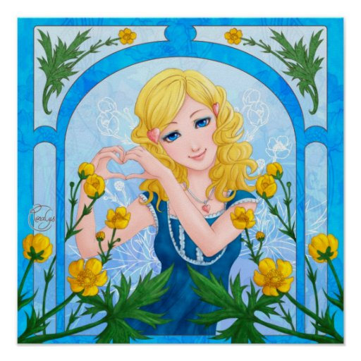 Language of flowers - Botón de oro Posters