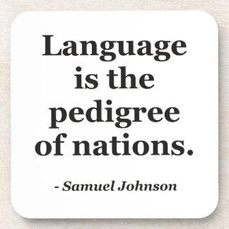 Language pedigree nations Quote Beverage Coaster