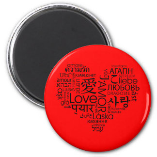 Languages of Love Heart 2 Inch Round Magnet