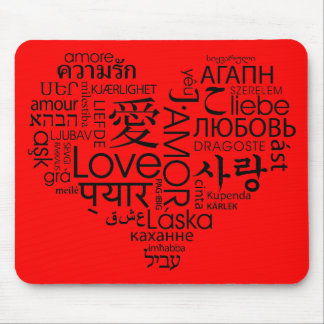 Languages of Love Heart Mouse Pad