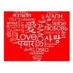 Languages of Love Heart Post Cards