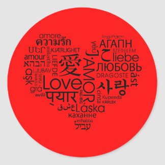 Languages of Love Heart Sticker