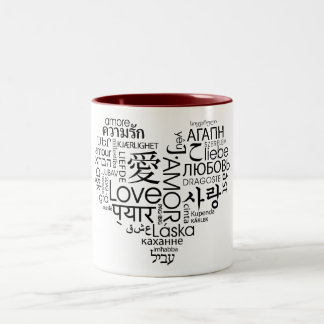 Languages of Love Heart Two-Tone Coffee Mug